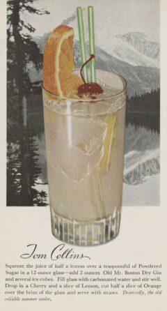 Leo Cotton: Old Mr. Boston Official Bartender's Guide. 1953. Nach Seite 112. Tom Collins.