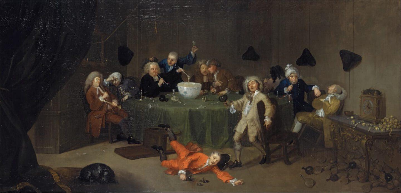 William Hogarth A Midnight Modern Conversation, um 1732.
