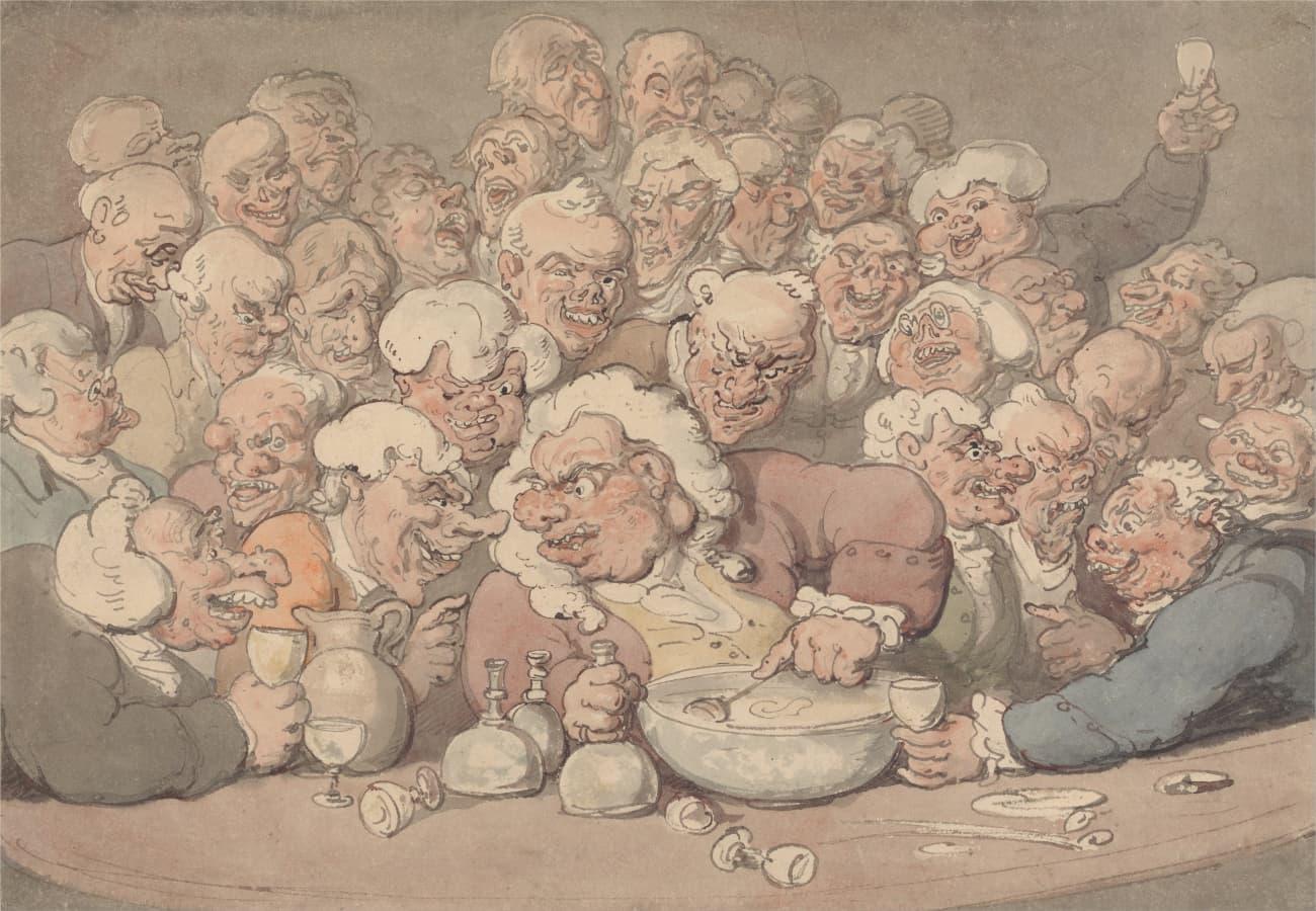 Thomas Rowlandson: Serving Punch, zwischen 1815 und 1820.